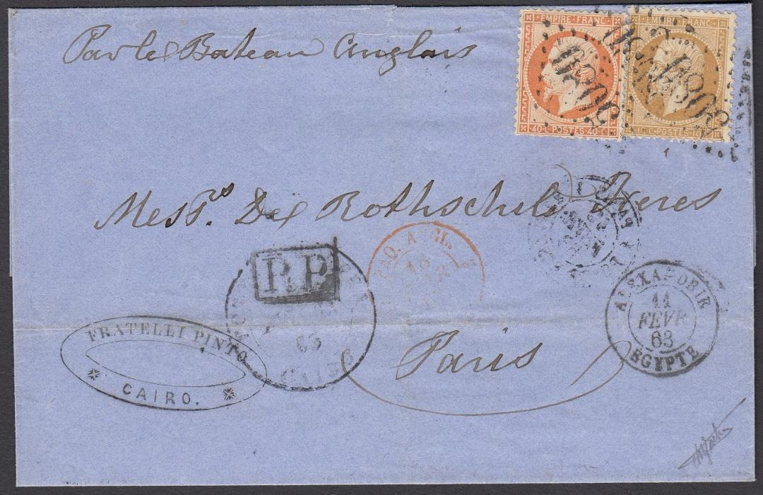 FRANCE/EGYPT 1863 wrapper to PARIS bearing POSTA EUROPA CAIRO date stamp, which took the item to ALEXANDRIA as shown by French P.O. cds. Franked 10c & 40c Napoleon tied by 5080 cancel allocated to Alexandria. Annotated to go by English ship.