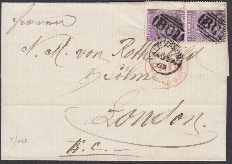 EGYPT (British Post Office) 1869 outer letter sheet to London franked vertical pair GB 6d, GD-HD, plate 8, cancelled with B01 obliterators, ALEXANDRIA cds in association, red LONDON arrival.