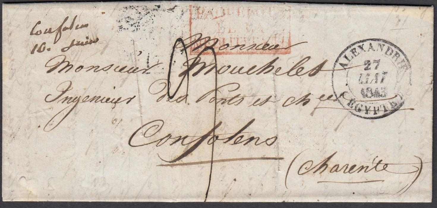 FRANCE (P.Os. Abroad) 1843 Entire to Confolens bearing ALEXANDRIE * EGYPT date stamp of the French Post Office and red boxed PAQUEBOTS DE LA MEDITERRANEE. Rated 9 decimes on arrival. Routed via Malta where disinfected and LAZARETTO cachet applied on the reverse.