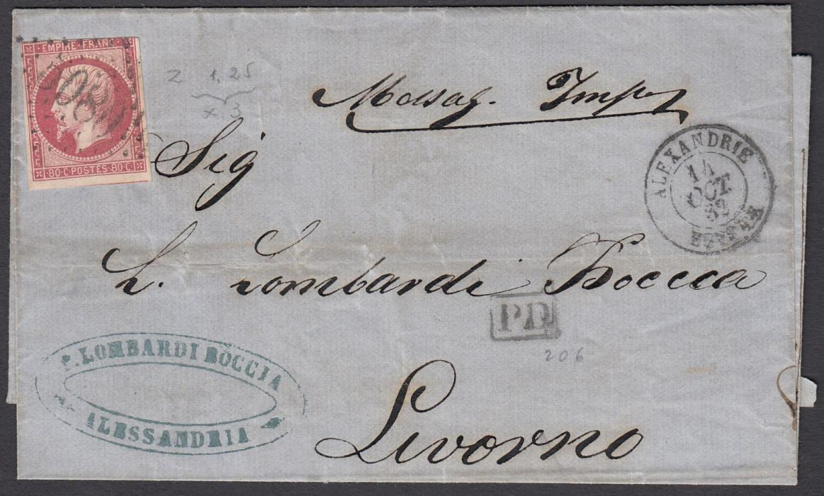 Egypt (French Post Office)1862 wrapper to Livorno, Italy, franked 80c Napoleon Empire Franc tied by gros chiffres 5080 with ALEXANDRIE * EGYPTE date stamp.