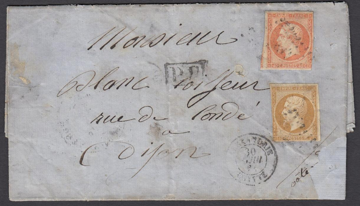 EGYPT (French Post Offices)1861 Family letter to Dijon, France. On reverse fine d.c. POSTA EUROPA CAIRO date stamp. Taken to Alexandria, letter put into the French Post Office and franked 10c & 40c Imperf Napoleons. On reverse also MARSEILLE transit cds.