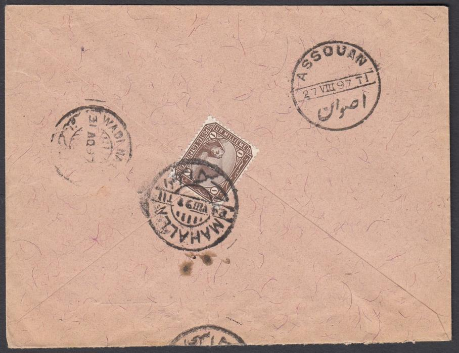 EGYPT 1897 under-franked cover to Sudan bearing 1m on reverse tied MAHALLA cds, repeated on front together with framed T handstamp. ASSOUAN and WADI HALFA backstamps.