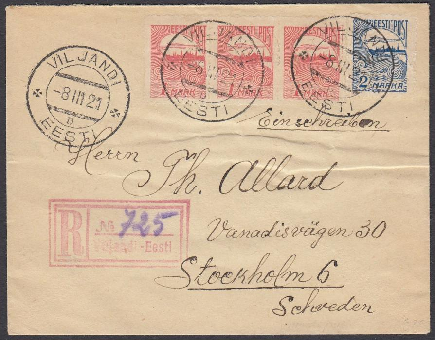 ESTONIA 1923 (8.III.) registered cover to Sweden franked privately rouletted 1m (3) & 2m tied VILJANDI cds, red registration handstamp with manuscript number; fine condition.