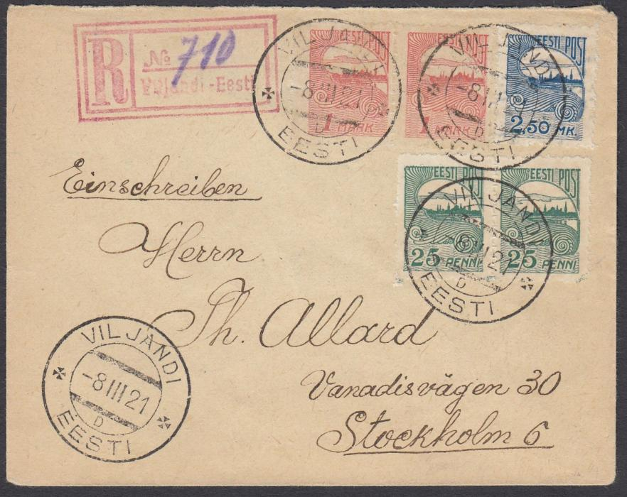 ESTONIA 1921 (8.III.) registered cover to Sweden franked privately rouletted 25p & 1m pairs and a 2.50m tied VILJANDI cds, red registration handstamp with manuscript number; without back flap.