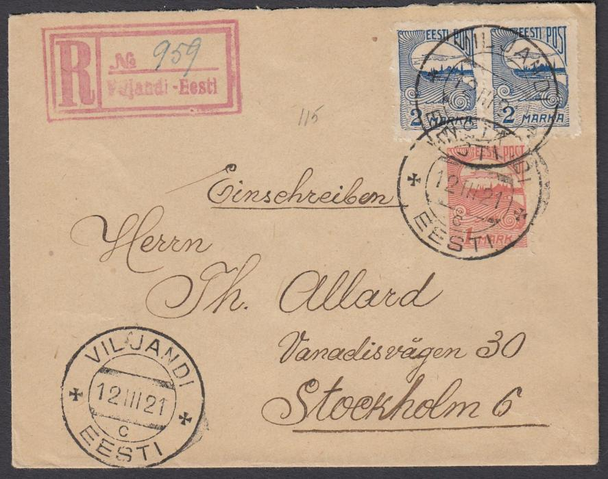 ESTONIA 1921 (12.III.) registered cover to Sweden franked privately rouletted 1m & 2m (2) tied VILJANDI cds, red registration handstamp with manuscript number; fine condition.
