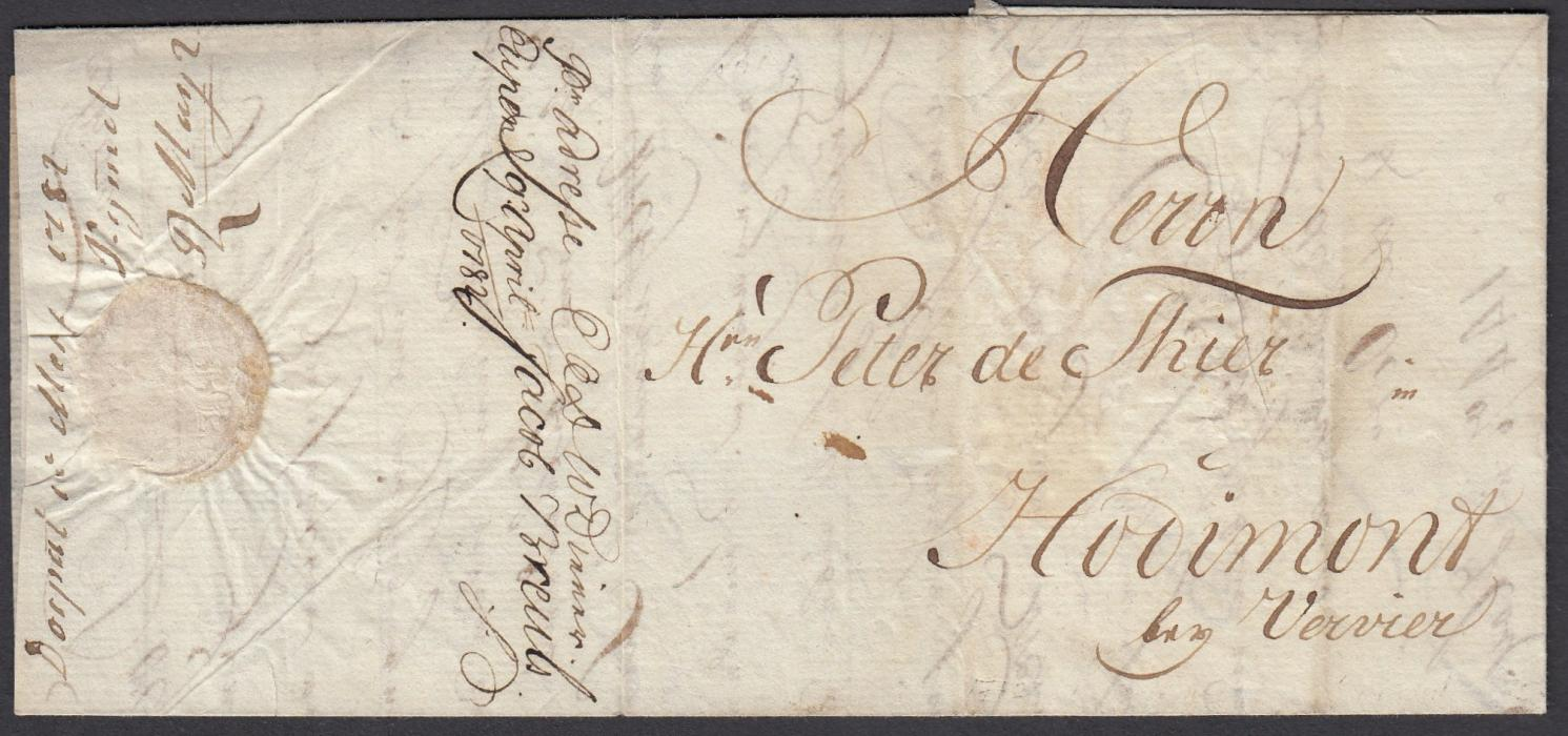 ESTONIA 1782 entire to Horimont, Belgium written from DORPAT with forwarders manuscript on side flap; fine and clean.