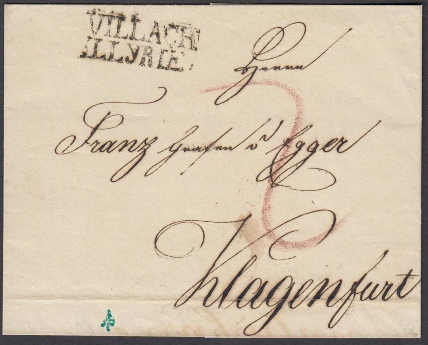 AUSTRIA 1826 outer letter sheet to Klagenfurt with a fine two-line VILLACH/ILLYRIE handstamp; good condition.