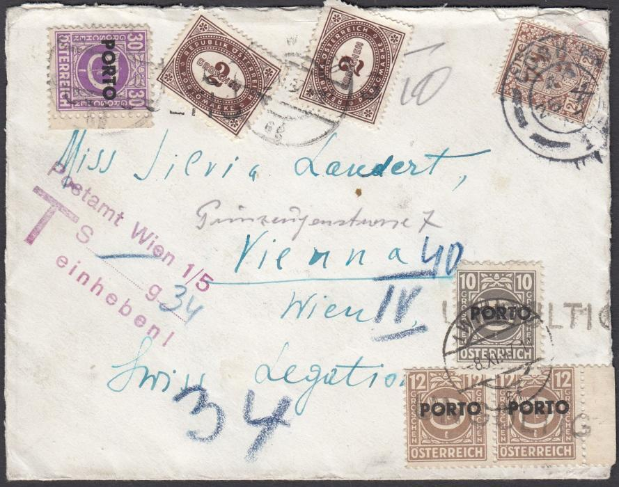AUSTRIA 1947 'United States Line' printed envelope to Vienna franked Irish 2½d. tied by Cork date stamp, undefranked and bearing a charge hand stamp for 34 groschen, the cancels on the postage dues are not clear but it does appear as if the charge has been raised three different times including a mixed franking of 1946 and 1947 issues.
