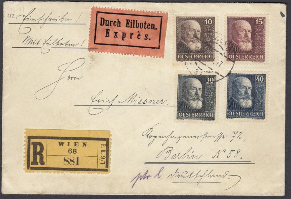 AUSTRIA 1928 registered express cover from Wien to Berlin franked War Orphans Fund set of four tied single cds of unclear date; arrival backstamp of 21.11.