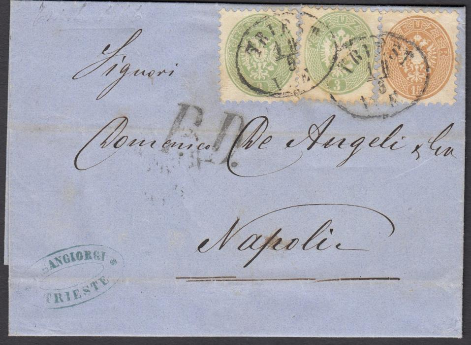 AUSTRIA 1866 entire to Naples franked two 3kr and a 15kr perf.9� tied oval TRIESTE dates stamps; arrival backstamp.