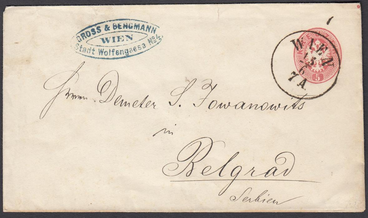 AUSTRIA 1860s 5kr postal stationery envelope to Belgrad, Serbia cancelled with WIEN cds; faint arrival backstamp.