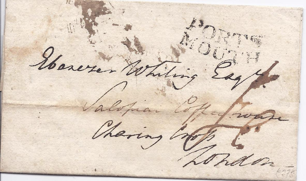 Guadeloupe 1794 (23rd April) outer letter sheet to �Salopian Coffee House�, London bearing cursive �PORTS/ MOUTH� incoming handstamp, arrival backstamp. This occupation during the Napoleonic War lasted for 6 months only, this item a few days after invasion.