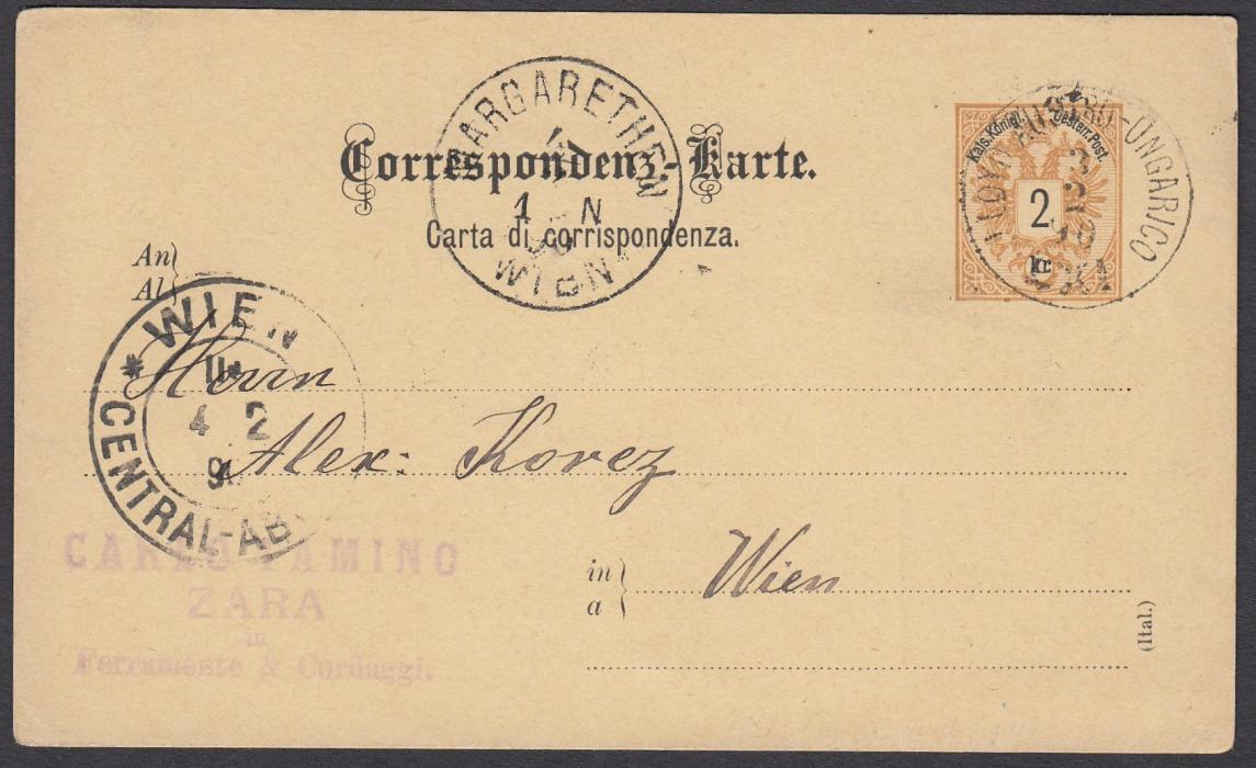 "AUSTRIA (Maritime) 1890 2k postal stationery card to Vienna cancelled LLOYD UNGARICO/LXI date stamp (this type not recorded by Tchil.) of the ship ""Thetis""; arrival cancels."