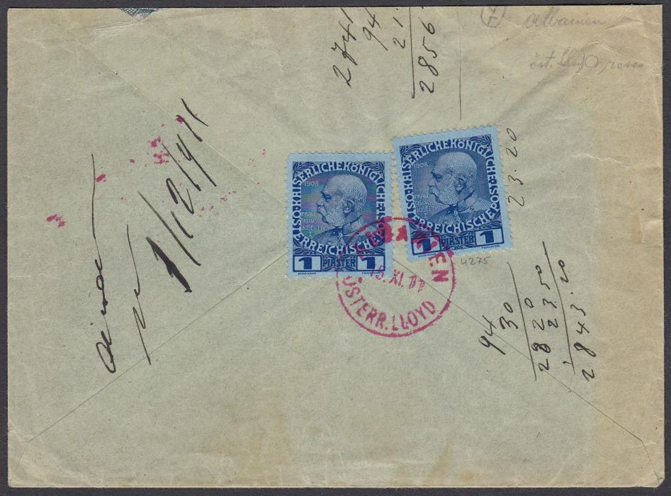 Austria (Maritime) 1907 envelope to Trieste franked two 1piaster tied by fine red ALBANIEN OSTERR. LLOYD cds; some manuscript numbering added later, good quality cancel.