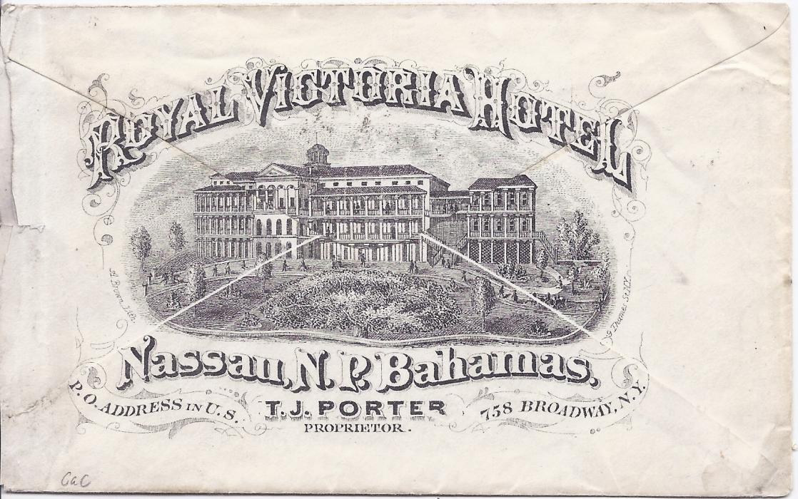 Bahamas 1876 Royal Victoria Hotel, Nassau printed illustrated envelope to New York franked 4d. chalon tied cds, straight-line Due 3 handstamp alongside. The envelope slightly reduced at side but still a fine early advertising cover