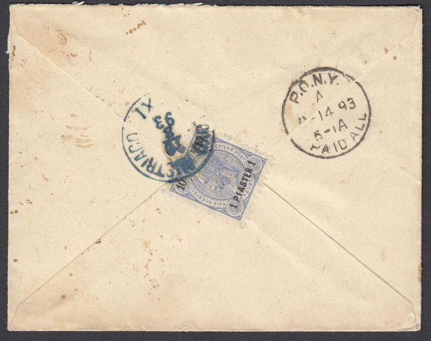 Austria (Maritime) 1893 cover to New York franked on reverse with 1pi. on 10kr. tied by blue Lloyd Austriaco XI date stamp, arrival cancel alongside.