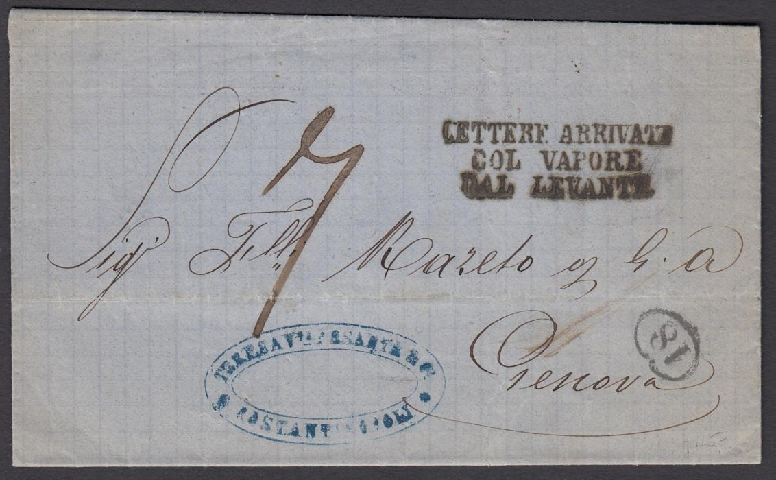 AUSTRIA (Maritime) 1868 unfranked entire to Genova from Constantinople, routed via Trieste where the three-line handstamp LETTERE ARRIVATE/COL VAPORE/DAL LEVANTE was applied. Rated 7 decimes on arrival. On reverse UDINE-VERONA TPO and MILAN STAZ transit cds.