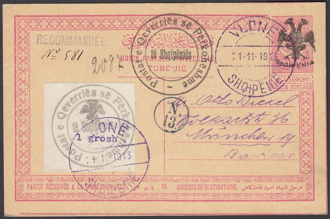 ALBANIA 1913 Double Headed Eagle Overprints, stationery card 20pa rose with black overprint, up-rated by 1gr typeset issue, from VLONE 21 11 1913 to Munich (Bickel correspondence) with arrival marks 28./29 11 13 on reverse.