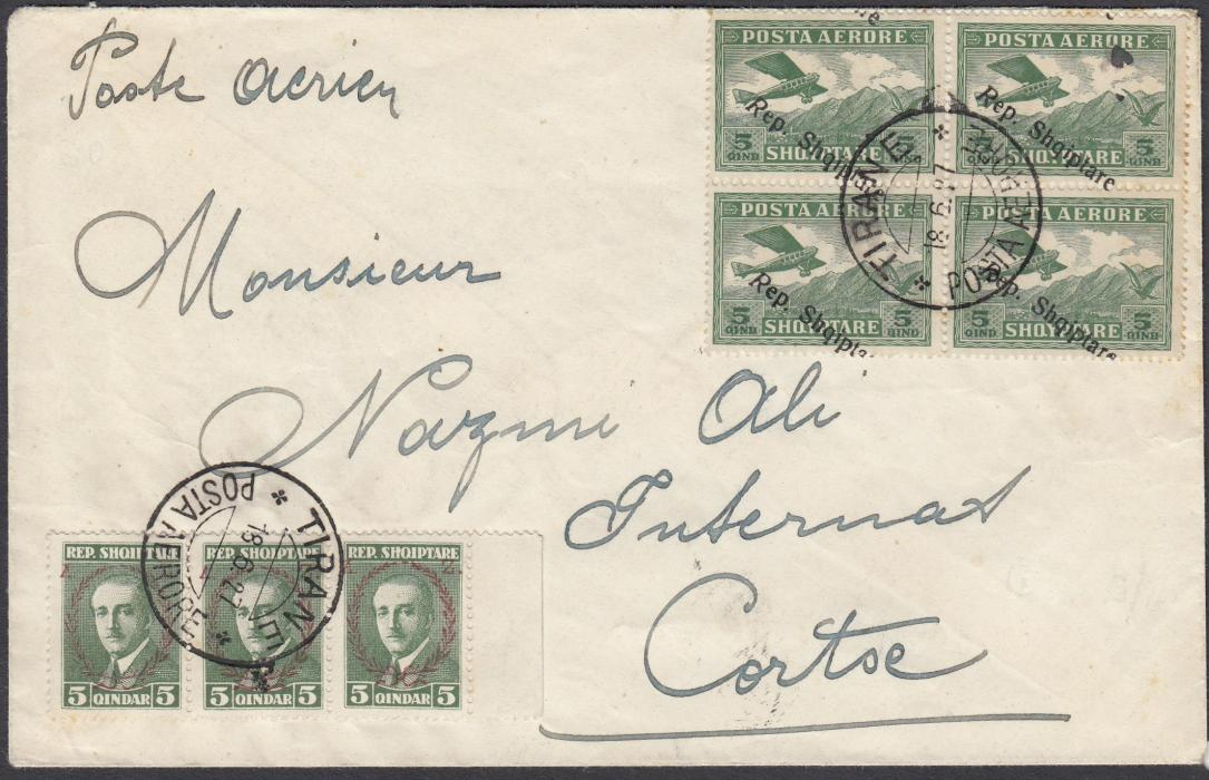 ALBANIA 1927 Airmails 5q green block of 4 with shifted overprint (few teeth slightly toned) together with 5q green marginal strip of 3; attractive franking on airmail cover from TIRANE/18 6 27 to Italy with arrival mark on reverse. (Cat.144(4), 153(3)).