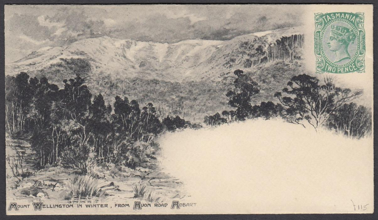 "AUSTRALIA - Tasmania 1898 2d illustrated envelope ""Mount Wellington in Winter""; very fine, unused."
