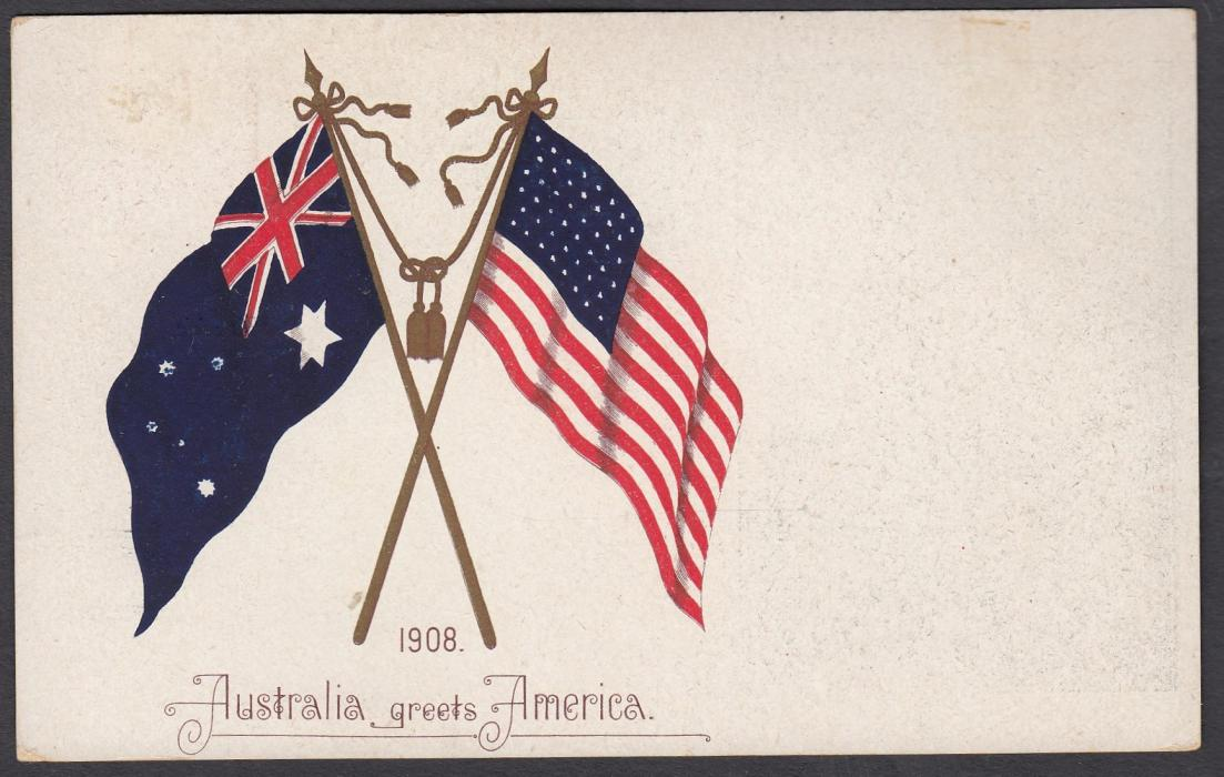 AUSTRALIA - Victoria: (Illustrated postal stationery card) 1908 1�d card depicting Melbourne Post Office issued to commemorate visit of the United States Fleet with both countries flags illustrated on reverse.