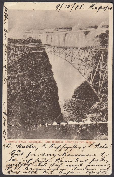 "RHODESIA: (Illustrated postal stationery) 1908 1d card with image of Victoria Falls ""The Highest Bridge in the World"" used to Germany from Broken Hill,  N.W. Rhodesia."