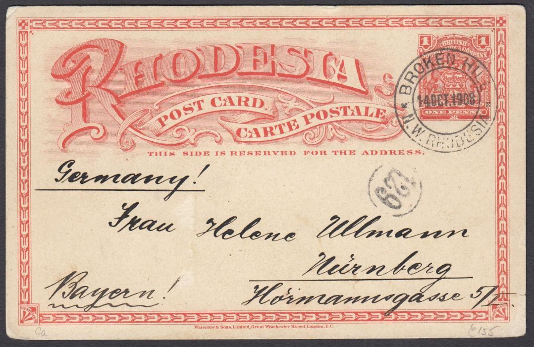 RHODESIA: (Illustrated postal stationery) 1908 1d card with image of Victoria Falls