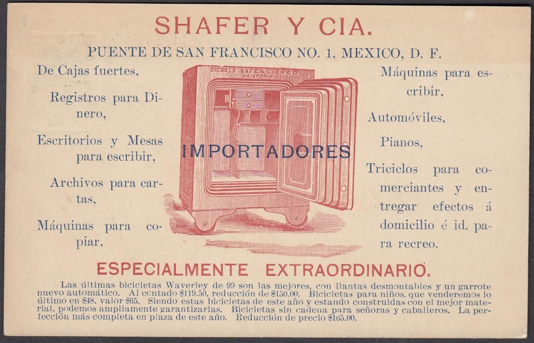 MEXICO:  (Advertising Stationery) 1899 Local Mexico City Servicio Urbano coloured 1c. postal stationery card advertising safes of Shafer & Co. of San Francisco.