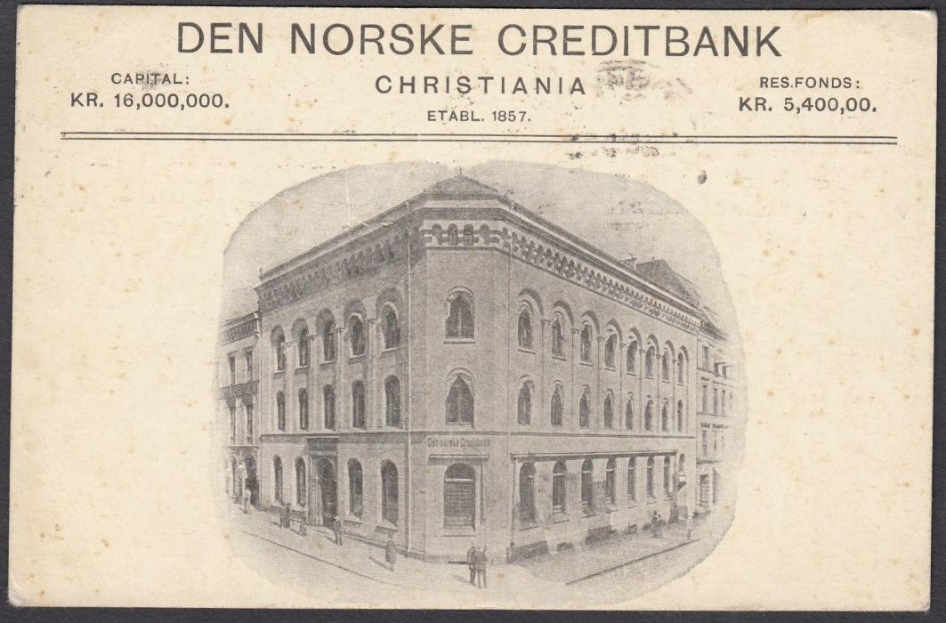 NORWAY: (Advertising Stationery) 1915 10o. card to Linden with illustrated advertisement on reverse for DEN NORSKE CREDITBANK; unusual.