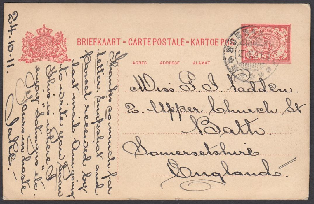 NETHERLANDS INDIES: (Picture Postal Stationery) 1911 5c. card with fine photographic image of colonists relaxing on terrace, used from Soerabaja to Bath, England.