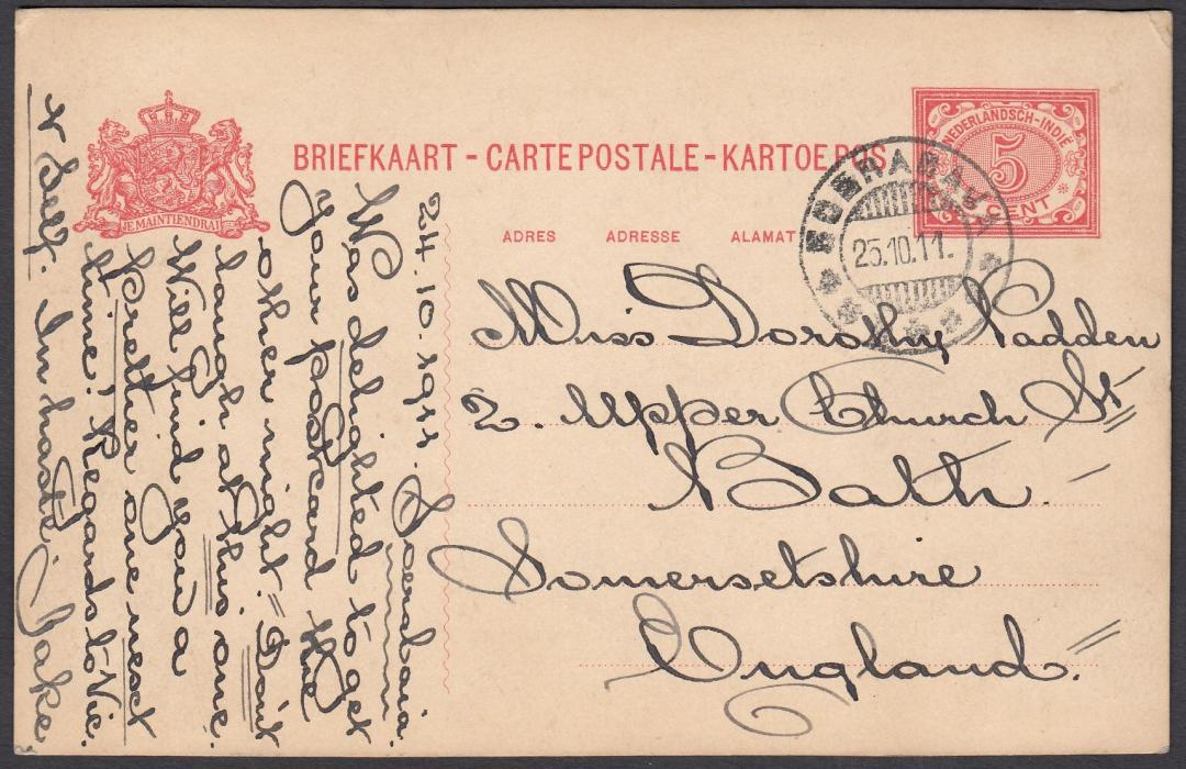 NETHERLANDS INDIES: (Picture Postal Stationery) 1911 5c. card with fine photographic image of colonists seated at table with servant, used from Soerabaja to Bath, England.