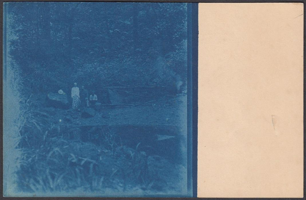 NETHERLANDS INDIES: (Picture Postal Stationery) 1905(c) 5c. card showing half plate photograph of jungle camp; unused.