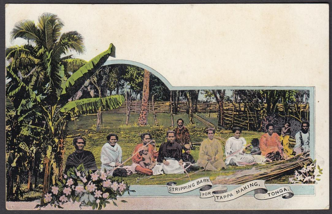 TONGA: (Picture Postal Stationery) 1906 1d. colour picture card Stripping Bark for Tappa Making; unused.