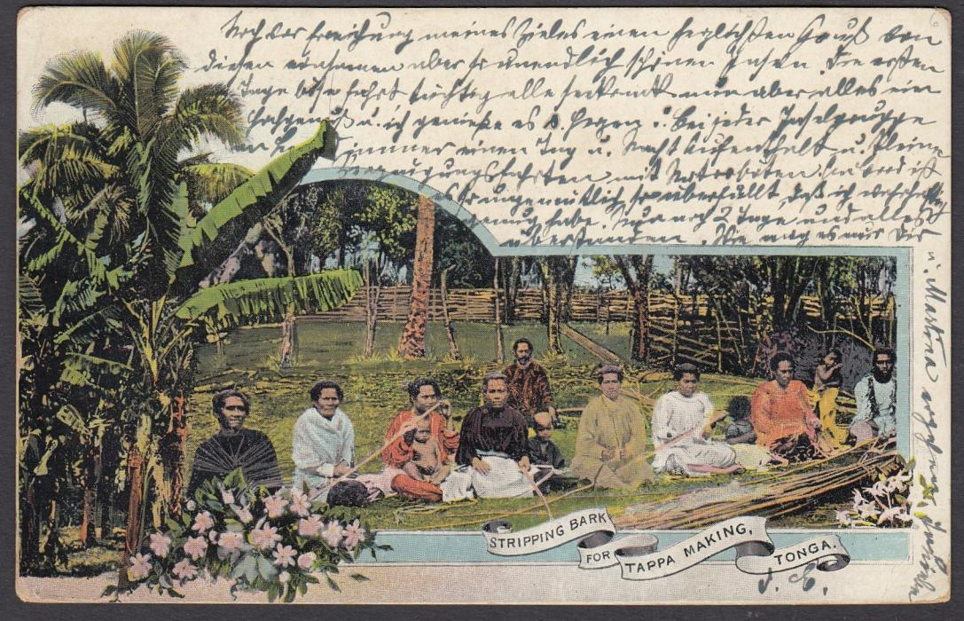 TONGA: (Picture Postal Stationery) 1906 1d. colour picture card Stripping Bark for Tappa Making used to Hamburg, Germany.