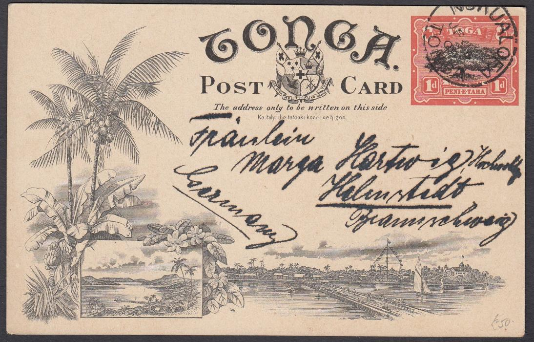 TONGA: (Picture Postal Stationery) 1906 1d. colour picture card The Haamoga used to Germany.