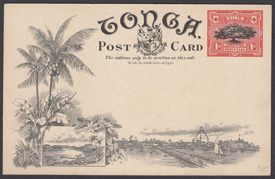 TONGA: (Picture Postal Stationery) 1906 1d. colour picture card Pine-Apple Plantation; unused.