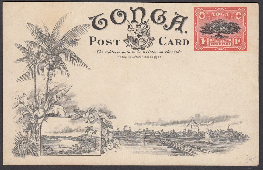 TONGA: (Picture Postal Stationery) 1906 1d. colour picture card Blow Holes, Houma; unused.