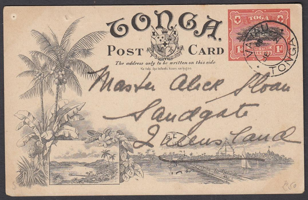 TONGA: (Picture Postal Stationery) 1906 1d. colour picture card Blow Holes, Houma. used to Queensland.