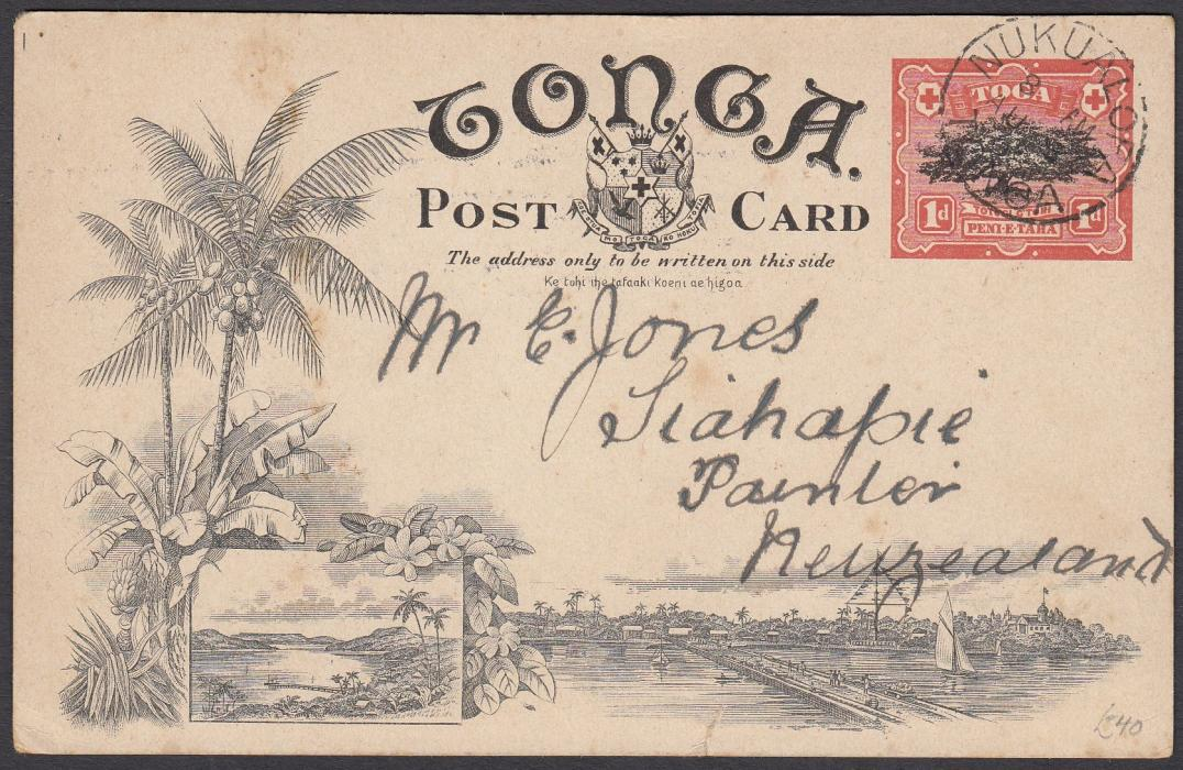 TONGA: (Picture Postal Stationery) 1906 1d. colour picture card Nukualofa, used to New Zealand.