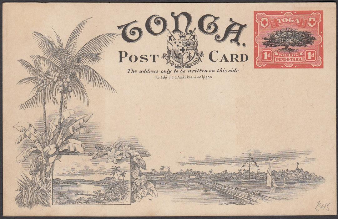 TONGA:(Picture Postal Stationery) 1906 1d. colour picture card Tufumanina; unused.
