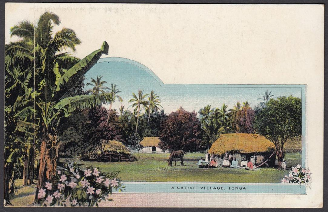TONGA: (Picture Postal Stationery) 1906 1d. colour picture card A Native Village; unused.