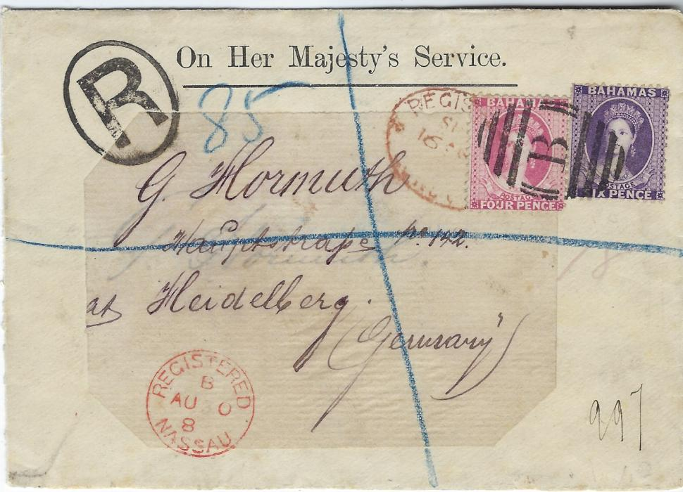 Bahamas 1889 On Her Majestys Service registered cover to Heidelburg, Germany franked 1863-80 6d. and 1882 4d. cancelled B obliterator, Registered Nassau cds in association at bottom left, London transit on front and arrival backstamp; fine and clean with BPA Certificate.