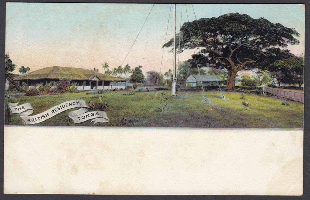 TONGA: (Picture Postal Stationery) 1906 1d. colour picture card The British Residency; unused.