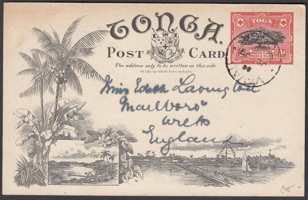 TONGA: (Picture Postal Stationery) 1906 1d. colour picture card The British Residency, used to England.