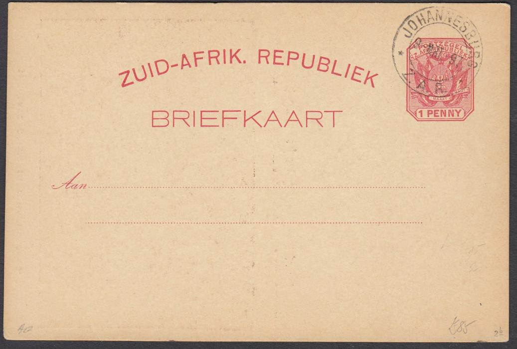 SOUTH AFRICA: (Transvaal - Picture Stationery) 1897 1d. picture stationery card with image entitled The Late Crisis in Johannesburg/March Past Commissioner Street cancelled to order; fine condition.