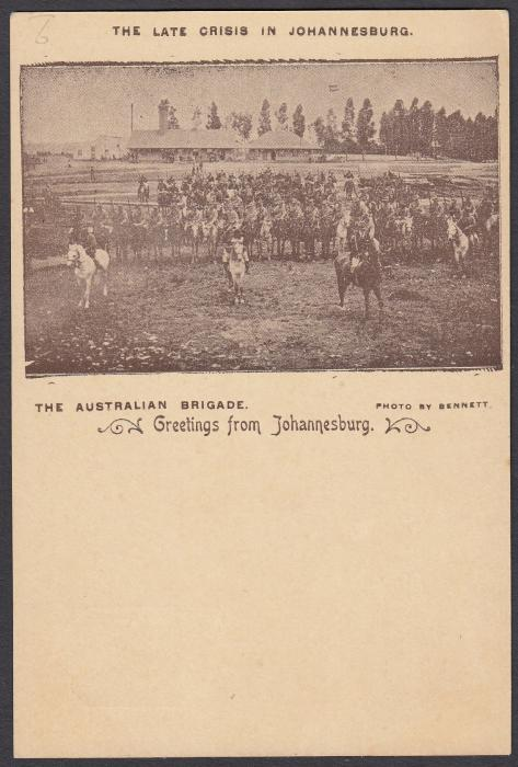 SOUTH AFRICA: (Transvaal - Picture Stationery) c1900 1d. picture stationery card with image entitled The Late Crisis in Johannesburg/The Australian Brigade; fine unused.