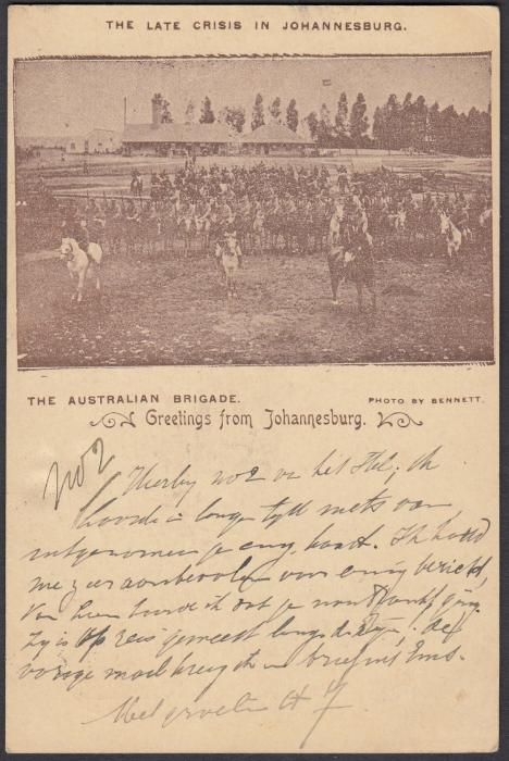 SOUTH AFRICA: (Transvaal - Picture Stationery) c1900 1d. picture stationery card with image entitled The Late Crisis in Johannesburg/The Australian Brigade used to the Netherlands.