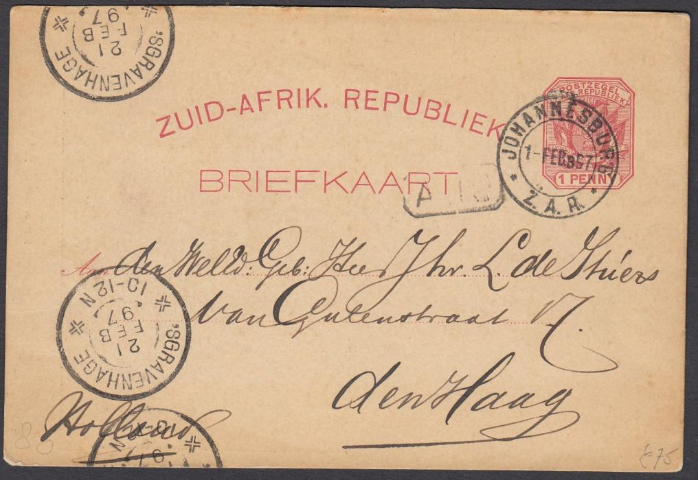 SOUTH AFRICA: (Transvaal - Picture Stationery) 1890 1d. card with image entitled The Late Crisis in Johannesburg/Scene in Simmonds Street used to the Netherlands.