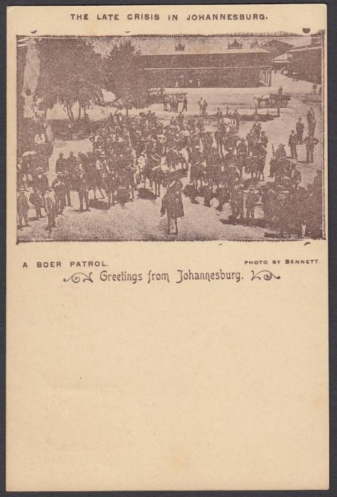 SOUTH AFRICA: (Transvaal - Picture Stationery) c1900 1d. picture stationery card with image entitled The Late Crisis in Johannesburg/A Boer Patrol; fine unused.
