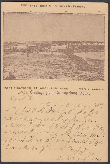 SOUTH AFRICA: (Transvaal - Picture Stationery) 1890s 1d. card with image entitled The Late Crisis in Johannesburg/Fortifications at Auckland Park, used to Germany.